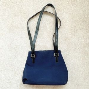 Black leather & navy blue nylon shoulder purse